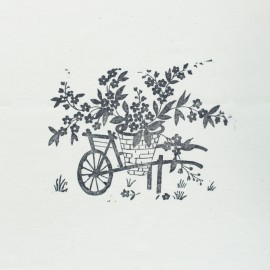 Hand Printed Cotton Panel - Grey Wheelbarrow