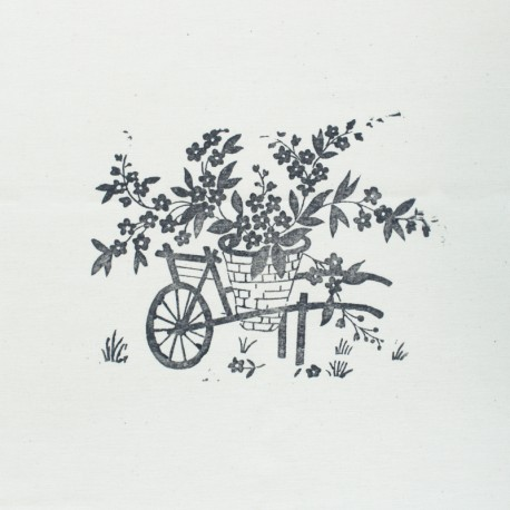 Hand Printed Cotton Panel - Grey Wheelbarrow