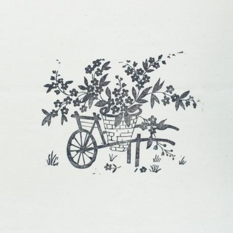 Panneau Coton Imprimé Artisanal - Brouette Fleurie Gris