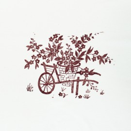 Hand Printed Cotton Panel - Sienna Wheelbarrow