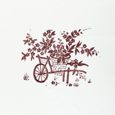 Panneau Coton Imprimé Artisanal - Brouette Fleurie Terre