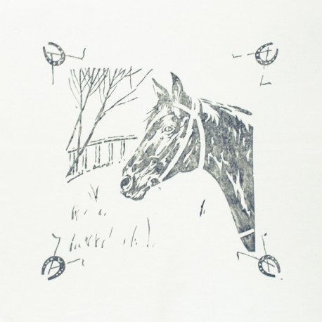 Hand Printed Cotton Panel - Grey Horse