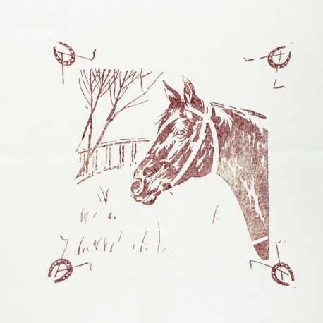 Hand Printed Cotton Panel - Sienna Horse