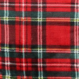 Tissu Doudou écossais Abelforth - rouge x 10 cm