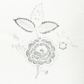 Hand Printed Cotton Panel - Grey Flower