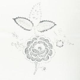 Panneau Coton Imprimé Artisanal - Fleur Gris