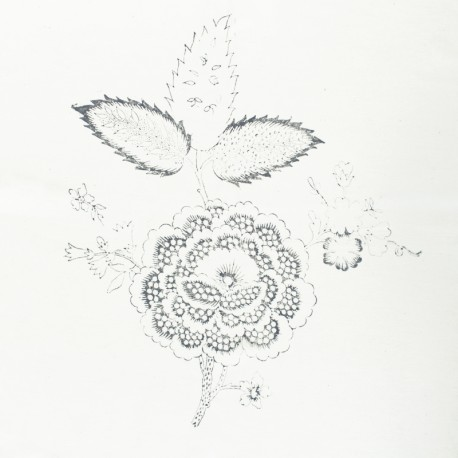 Hand Printed Cotton Panel - Grey Flower