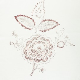 Hand Printed Cotton Panel - Sienna Flower