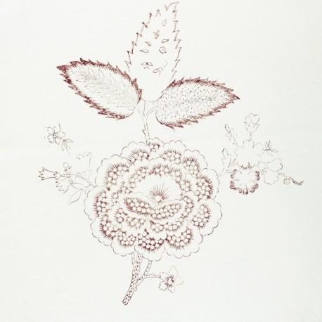 Hand Printed Cotton Panel - Sienna Flower