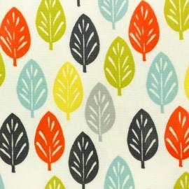 Tissu coton enduit brillant Feuille rétro - blanc x 50 cm