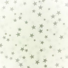 Polycotton fabric - white Silver star x 10cm