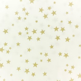 Polycotton fabric - white gold star x 10cm