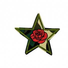 Romantic Military Star Iron-On Patch - Green