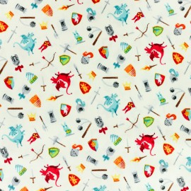 Makower UK cotton fabric Dragonheart Scatter - cream x 10cm
