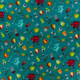 Makower UK cotton fabric Dragonheart Scatter - Pine green x 10cm