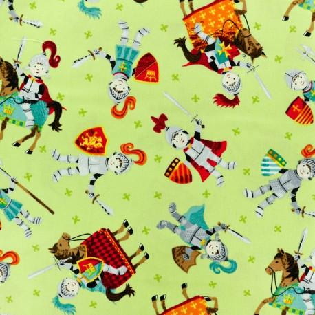 Makower UK cotton fabric Dragonheart Knight - green x 10cm