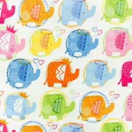 Makower UK cotton fabric Ellie Elephant Pop - white x 10cm