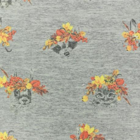 Tissu coton jersey Stenzo Couronne d'automne - gris x 10cm