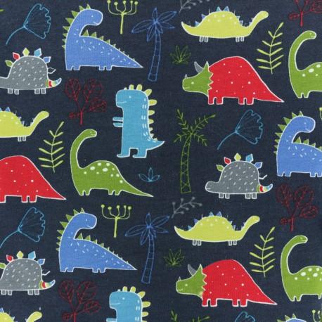 Cotton Jersey fabric - Light Grey/metallic green Dinosaur 10cm