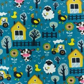 Tissu jersey Jolie Ferme - bleu paon x 10cm