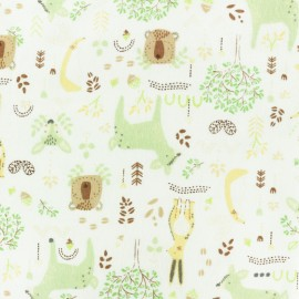 Bamboo Flannel Fabric - pink Forest Animals x 10cm
