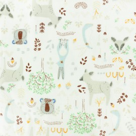 Bamboo Flannel Fabric - green Forest Animals x 10cm