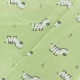 Bamboo Flannel Fabric - green Zebra x 10cm