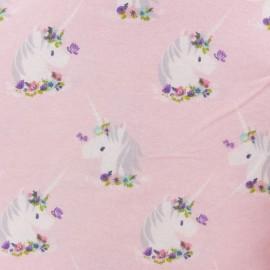 Tissu Flanelle Licorne - rose x 10cm