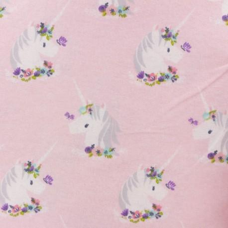 Flannel Fabric - light pink Unicorn x 10cm