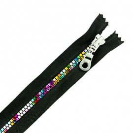 Moulded Plastic Open End Zip Eclair® - Black/Multi Disco