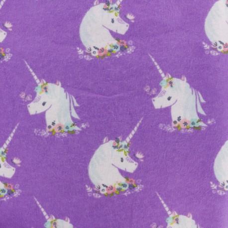 Tissu Flanelle Licorne - violet x 10cm