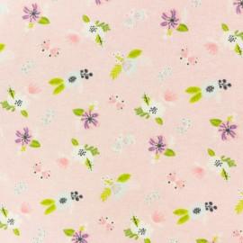 Tissu Flanelle Jolies fleurs - rose x 10cm