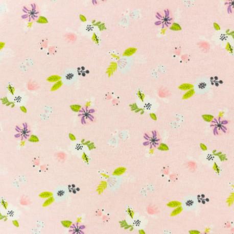 Flannel Fabric - light pink Jolies fleurs x 10cm