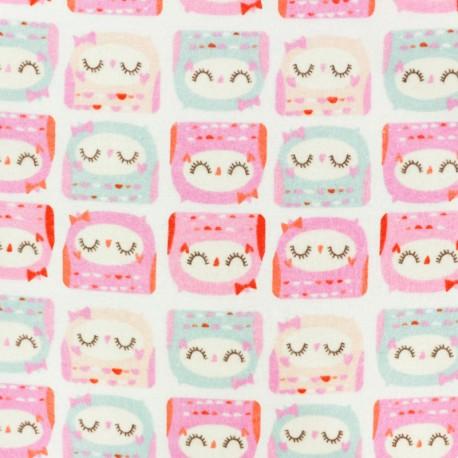 Tissu Flanelle Jolie Chouette - blanc x 10cm