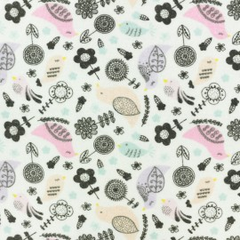 ♥ Coupon tissu 90 cm X 110 cm ♥ Flanelle Birdy - blanc