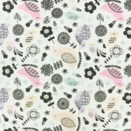 Tissu Flanelle Birdy - blanc x 10cm