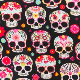 Timeless Treasures Cotton fabric - Black Sugar skulls x 10cm