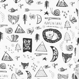 Dear Stella Poplin fabric - white Pastel cat x 10cm
