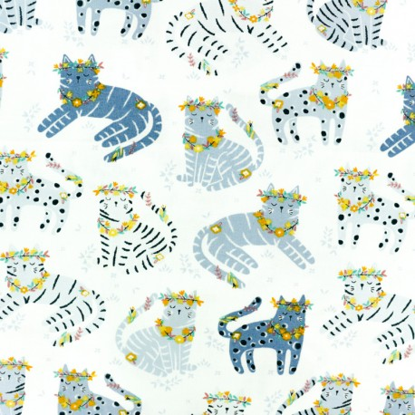 Dear Stella Poplin fabric - white Forest Adventure x 10cm