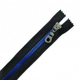Moulded Plastic Closed Bottom Zip Eclair® - Black/Blue Disco