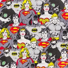 Tissu coton Team Superhéros - gris x 10cm