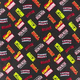 Tissu coton Super-héros logo - noir x 10cm
