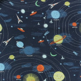 Dear Stella Jersey cotton fabric - Blue Supernova x 20cm