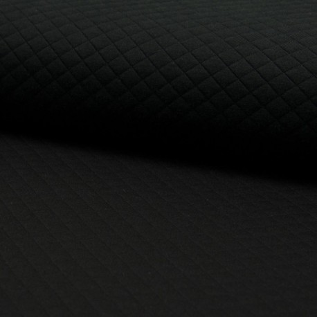 Quilted jersey fabric single-sided Diamond - Black x 10cm