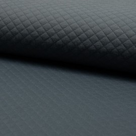 Quilted jersey fabric single-sided Diamond - Dark Grey x 10cm