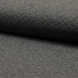 ♥ Coupon 20 cm X 140 cm ♥ Quilted jersey fabric single-sided Diamond - Mottled Dark Grey