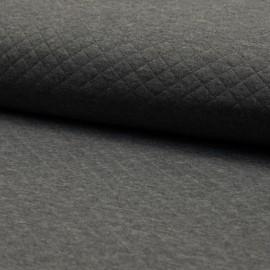 Tissu jersey matelassé simple face losanges - gris foncé chiné x10cm