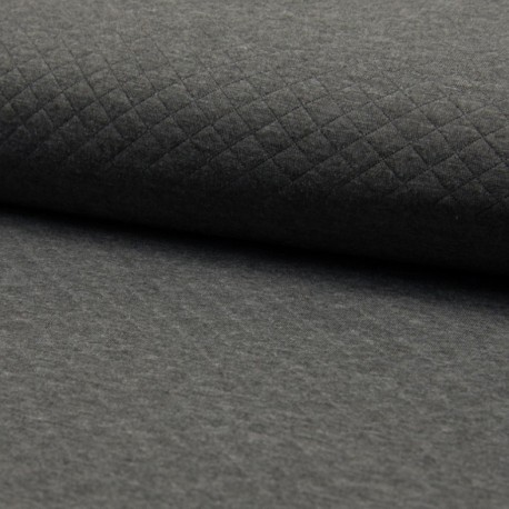 Quilted jersey fabric single-sided Diamond - Dark Grey x 10cm