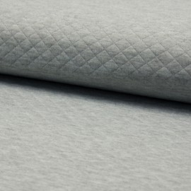 Quilted jersey fabric single-sided Diamond - Mottled light Grey x 10cm