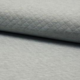 Tissu jersey matelassé simple face losanges - gris clair chiné x10cm
